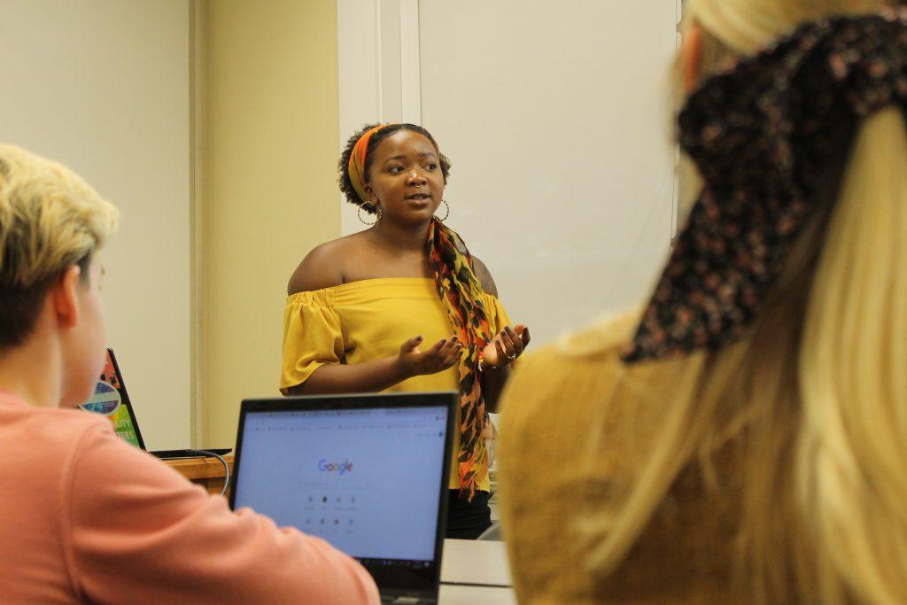 Montia Daniels leads a SAGA board meeting.