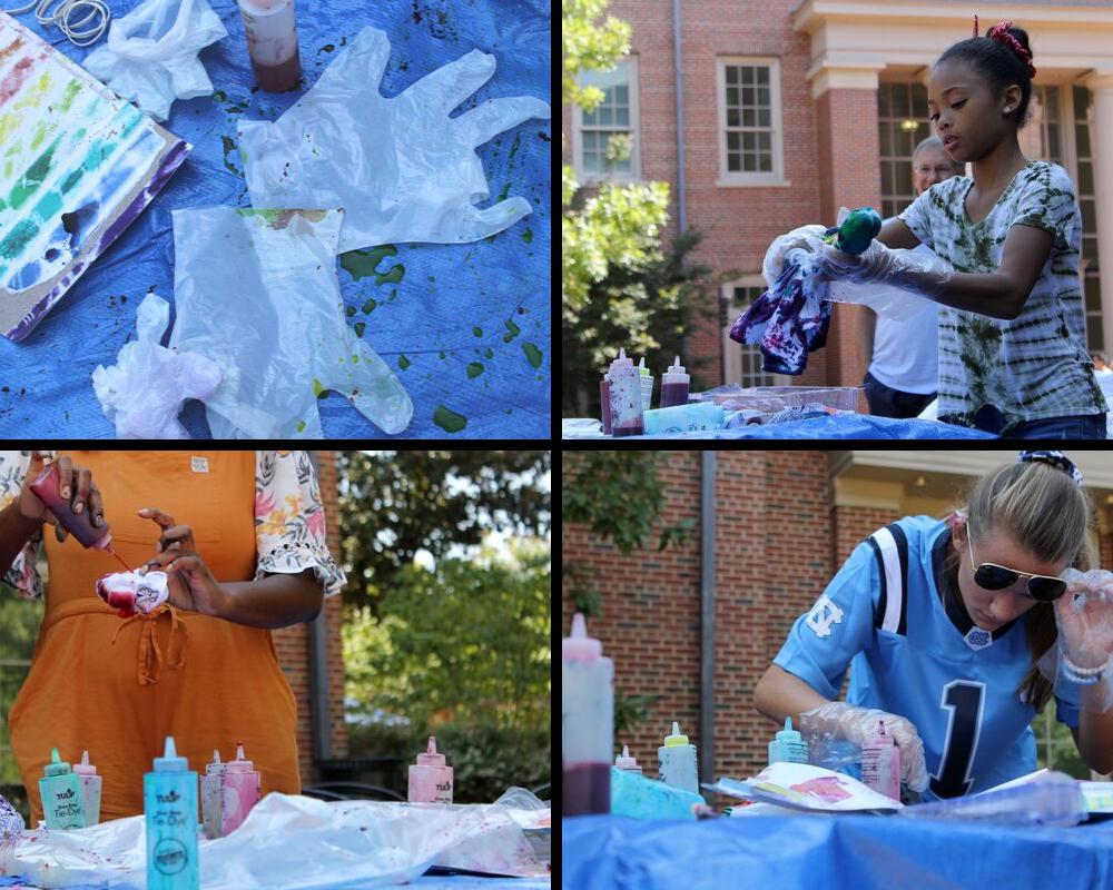 Students tie dye shirts.