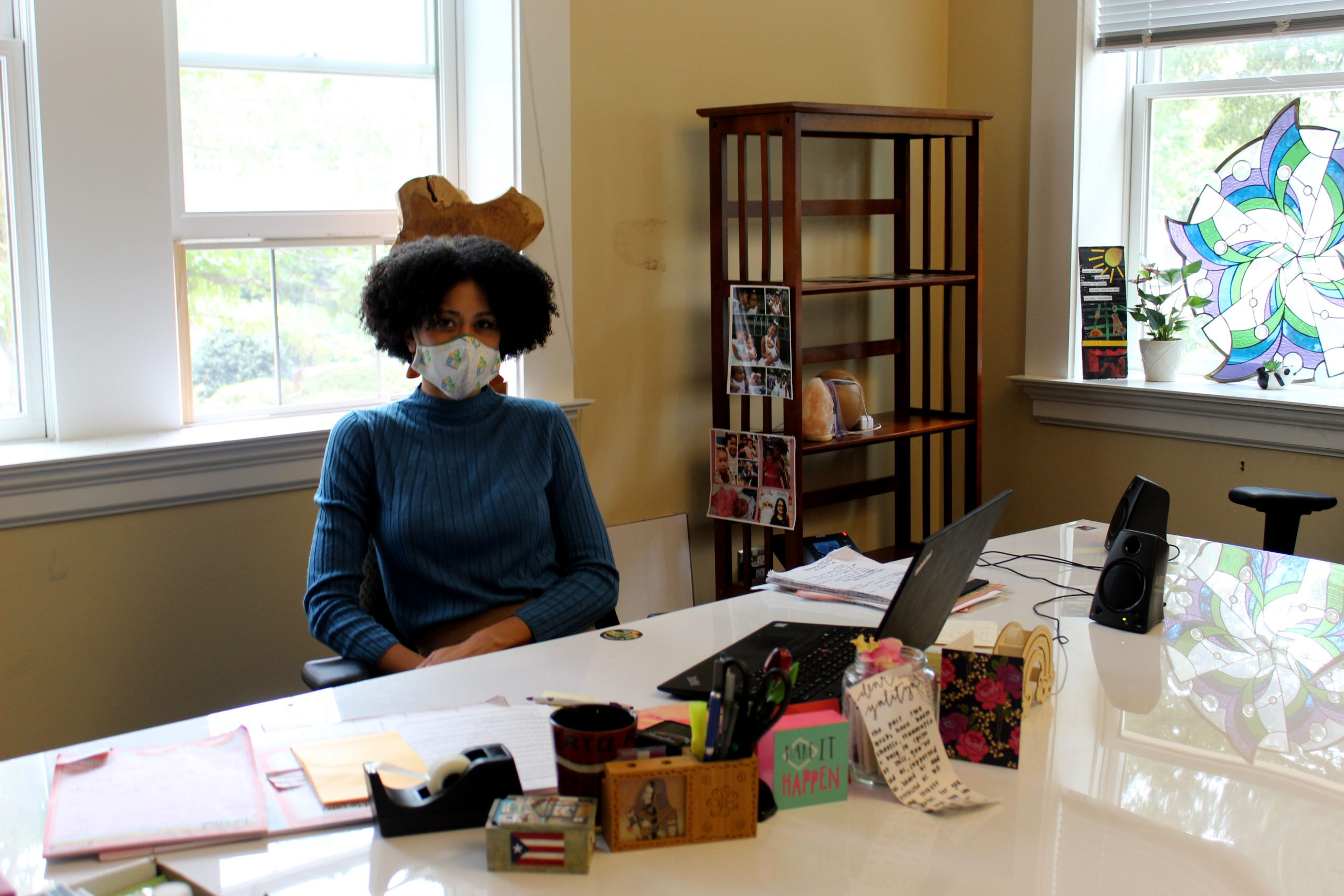 Yalitza Ramos poses for a photograph in her office of the Campus Y